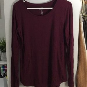 Gap long sleeve maroon T-shirt
